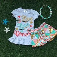 new   summer girls boutique clothing colorful polka plaid dot shorts outfit new design with matching bow set