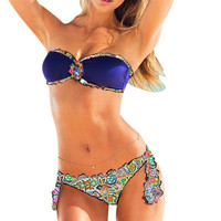 Bikini Rhinestone Bandeau Top Floral Bottom women's swimsuit Swimwear Bathing Suit Swim suits = 1956993668