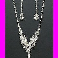 Ultimate Blingy Crystal Y Drop On Silver Tone Bridal Bride Necklace Earring Set