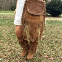 Flap Over Studded Circle Purse - Rust
