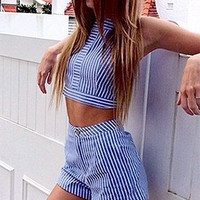 Cupshe Navy and White Striped Matching Sets