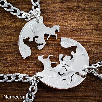 3 Best Friend Horse Necklaces, Interlocking Handcrafted Cut Half Dollar, By NameCoins