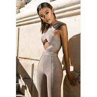 ASTER Taupe Bandage Crossover Front Jumpsuit