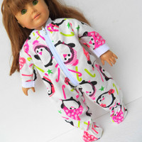"""American Girl 18"""" Doll Clothes Pajamas Sleeper Pjs Penguin Candy Cane Star Christmas Holiday Flannel Zip Up Feetie"""