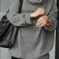 Grey Korean Style Wool Casual Hoodies MM90000g (Size: L) = 1919973252