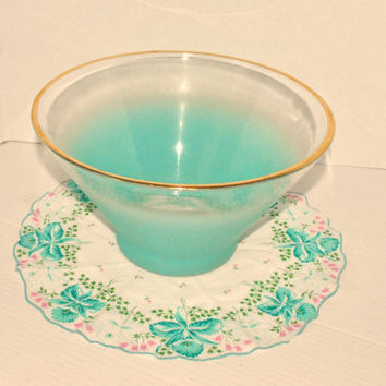 Retro Frosted Aqua Blue Large Glass Vintage Blendo Salad/Serving Bowl with Gold Rim - Mid Century Modern, West Virginia Glass Co. Bowl
