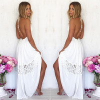 Sexy Women Maxi Long Lace Cocktail Evening Party Dress Summer Beach Backless Dress [7671186566]