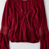 AEO Women's Bell Sleeve Wrap Blouse (Burgundy)
