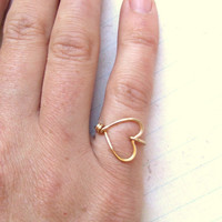 Sweetheart Ring Heart Ring Gold Ring Brass Ring Wire Wrap Ring I Love You Ring Friendship Ring Bridesmaids Gift Jewelry Gifts Under 10