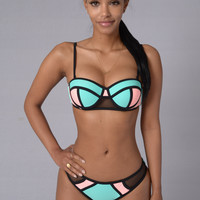 Tropical Punch Bikini - Mint/Peach