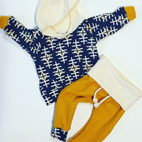 Baby clothes / modern baby clothes / baby boy clothes / newborn outfit / boy outfit / take home outfit / fall baby clothes / navy / mustard