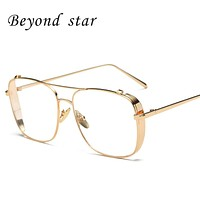 Beyond Star High Quality Clear Lens Glasses Women Brand Designed Fashion Metal Frames Eyeglasses Gold Aviator Glasses Lunettes