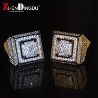Bling Bling AAA+Cubic Zircon Ring Copper Material Gold Silver Color Iced Full CZ Hip Hop Rings Men's Fashion Jewelry Gift
