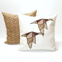 Modern Geometric  Bird Cushions, Appliquéd  Throw Pillows (2)  Brown -White - Mustard , Wild Geese Pillow