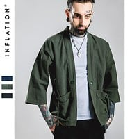 New Fashion streetwear mens kimono japanese shirt Hemp Men shirt
