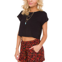Later Girl Floral Shorts in Red