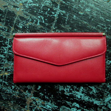 Clutch Wallet lipstick red leather womens coin purse long slim shape bright red wallet card pockets fleur de lis vintage 70s 1970s