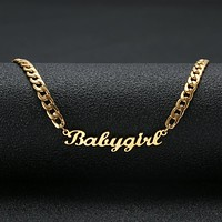 "Gold Color ""Babygirl"" Name Necklace Stainless Steel"