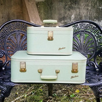 Vintage Sea Foam Green Starline  Suitcase Set by Lady Baltimore