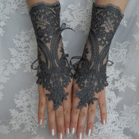 FREE SHIP --- Wedding gloves, bridal gloves, fingerless lace, steampunk, Deep Space Sparkle gloves, victorian, lolita, sexy belly dance