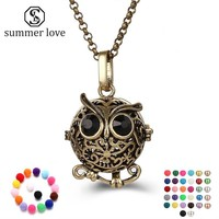 Hot Sale 4 Colors Animal Owl Diffuser Necklace For Essential Oils Fashion Locket Jewelry Women Accessories