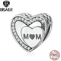 BISAER Genuine 925 Sterling Silver Engraved Tribute To Mom, Clear CZ Charms fit Pandora Charm Bracelet Jewelry Making EDC098