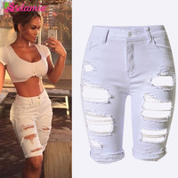 New Arrival Summer White Shorts Women High Waist Shorts Ripped Short Jeans Woman Denim Shorts Pantalones Cortos Mujer