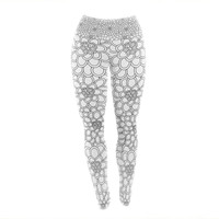 "Julia Grifol ""White Flowers"" Yoga Leggings"