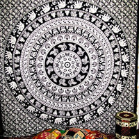 Mandala Tapestries Peacock, Camel, Elephant Indian Black and White Wall Tapestry Wall Hanging for Wall Decoration, Queen Size Tapestries By Multimate Collection