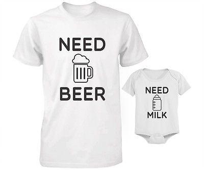 Image of Daddy and Baby Matching T-Shirt and Bodysuit Set - Need Beer and Need Milk