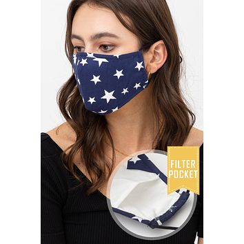 Star Printed Protective Washable Face Mask with Filter Pocket
