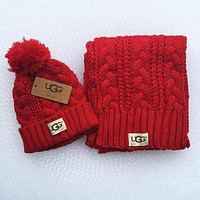 UGG men and women winter knit fashion hats & scarves Red