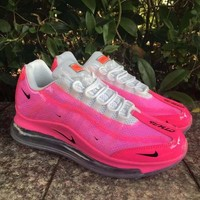 HCXX 19July 939 Nike Air Max 720-95 Heron Preston By You Transparent Flyknit Breathable Running Shoes rose red