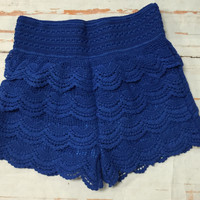 Lace Shorts: Royal