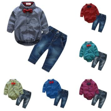 Baby Boys Long Sleeve Checkered Shirt with Bow Tie and Jeans Set
