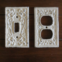 Creamy White Decorative Electrical Outlet Plate /Plug-in Cover/ Fleur de lis/ Bright Cast Iron/ Shabby Chic/Nursery Decor