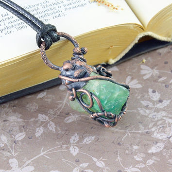 Emerald necklace by POCIECHA Bohemian,Wire Wrapped,Electroformed,Earthy,Jewelry Electroforming,Unique,Witch,Necklace,Earthy Gift for Her