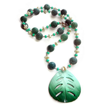 Teal, Turquoise and Pearl Beaded Necklace with Leaf Charm