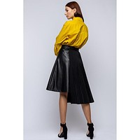 Side Pleat Faux Leather Skirt