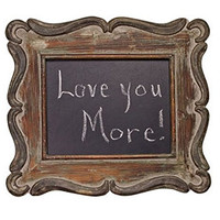 Vintage Aged Framed Chalkboard - 15-1/2-in Rustic Message Chalk Black Board