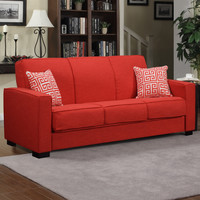 Comfortable Red Linen Sofa with 2 Pillows - Easily Converts to Bed