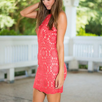 Sassy Scallops Dress, Coral
