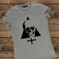 Women's Tshirt Skull on a Bike Ladies Gray T Shirt,Screen Printing T shirts,Women's T-Shirts, Skull Tshirt,Size S, M, L