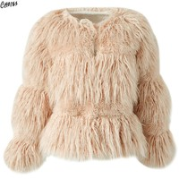 Women Winter Faux Fur Coat 3 Colors Collarless Round Neck Long Sleeve Covered Button Open Front Fluffy Warm Outwear