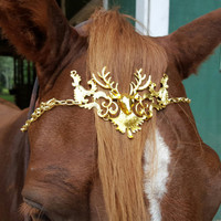 Deer Stag Browband for Horse or Pony - Gold Finish - Equine Bling Tack Jewelry - Metal Deer Browband