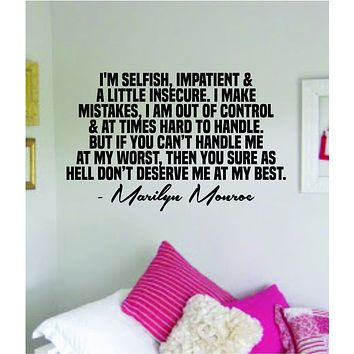 Marilyn Monroe Deserve Me At My Best Quote Wall Decal Home Decor Bedroom Sticker Vinyl Art Girls Teen Inspirational