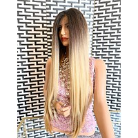 ALLIE Golden ombré brown blonde balayage 4 -27/613 4x4 Swiss lace front wig in 30 inches *420