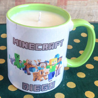 Minecraft Mug Candle for Diego - Lavender Fields Soy Candle