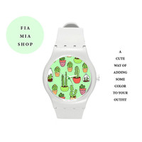 cactus plastic watch,watch,plastic,wristwatch,cute watch,cute,gift,birthday gift,hipster,accessories,succulent,cactus,colorful,kawaii,cheap