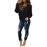 Spring Lace Up Hoodies shirt Women Tops V Neck Ladies Autumn Warm Hoody Black Rivet Hole Long Sleeve Casual Pullover Jumper